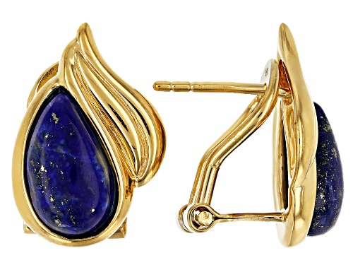 Photo of 11x6mm Free-Form Lapis Lazuli 18k Yellow Gold Over Sterling Silver Earrings