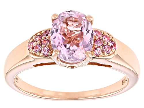 Photo of 2.27CT OVAL KUNZITE WITH .19CTW ROUND PINK SAPPHIRE 18K ROSE GOLD OVER SILVER RING - Size 7