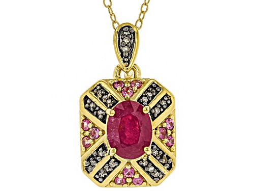 Photo of 1.79ctw Mahaleo® Ruby, Pink Spinel & Champagne Diamond Accent 18k Gold Over Silver Pendant W/Chain