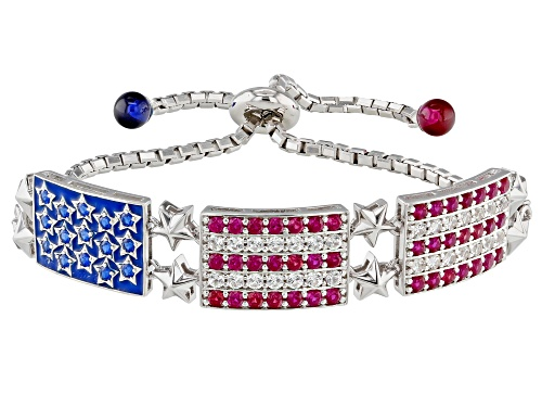 "Photo of 5.31ctw Lab Created Blue Spinel, Ruby & White Sapphire Rhodium Over Silver Bracelet Adjusts 6""-9"""