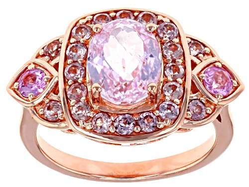 Photo of 1.98ct Kunzite With .22ctw Pink Sapphire & .68ctw Color Change Garnet 18k Rose Gold Over Silver Ring - Size 8