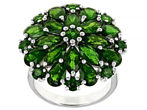 Photo of 6.34ctw Mixed Shape Russian Chrome Diopside Rhodium Over Sterling Silver Cluster Rimg - Size 7