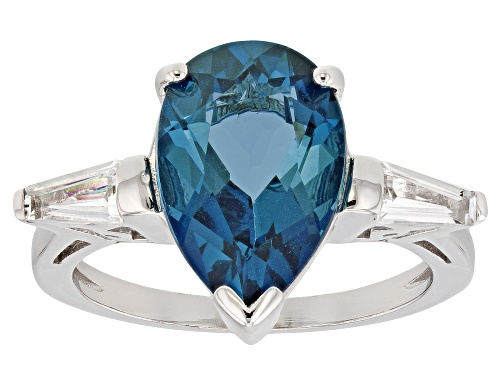 Photo of 4.34ct London Blue Topaz With .38ctw White Topaz Rhodium Over Sterling Silver 3-Stone Ring - Size 8