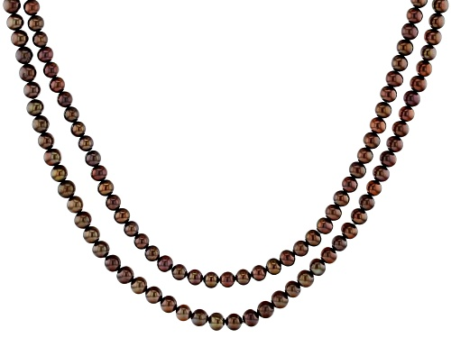 Photo of 5-6mm Mahogany Color Cultured Freshwater Pearl 54 Inch Endless Strand Necklace - Size 54