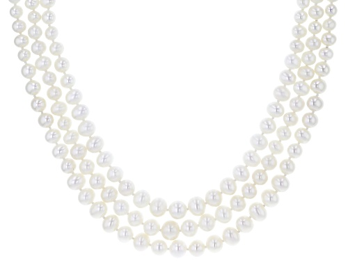 Photo of 4-7.5mm White Cultured Freshwater Pearl Rhodium Over Silver Multi-Row Graduated Strand Necklace - Size 17