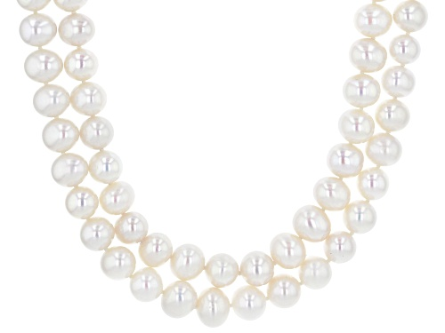 Photo of 8.5-9.5mm White Cultured Freshwater Pearl Rhodium Over Sterling Silver Double Row Necklace - Size 18