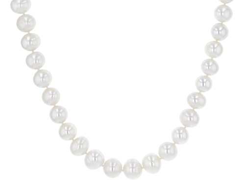 Photo of 9.5-10.5mm White Cultured Freshwater Pearl Rhodium Over Sterling Silver 18 Inch Strand Necklace - Size 18