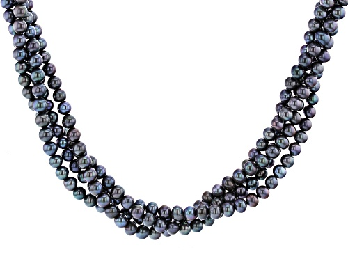 Photo of 5-6mm Black Cultured Freshwater Pearl Rhodium Over Sterling Silver Torsade Necklace - Size 18