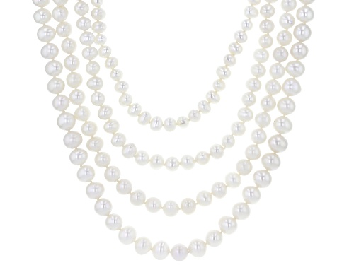 Photo of 6-9.5mm White Cultured Freshwater Pearl Rhodium Over Sterling Silver Multi-Row Necklace - Size 17