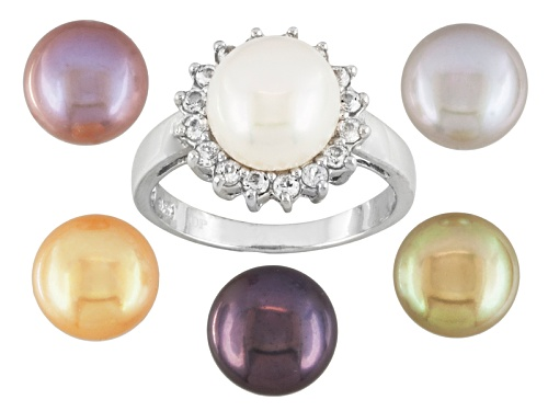 Photo of 9mm Cultured Freshwater Pearl With 0.50ctw White Topaz Rhodium Over Silver Interchangeable Ring Set - Size 11