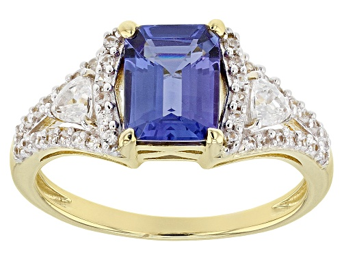 Photo of 1.27ct Emerald Cut Tanzanite With .54ctw Trillion And Round White Zircon 10k Yellow Gold Ring - Size 6