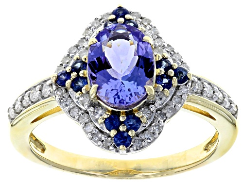 Photo of 1.05ct Tanzanite With .18ctw Blue Sapphire And .23ctw White Diamond 10k Yellow Gold Ring - Size 5