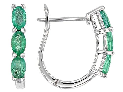 Photo of 1.27ctw Oval Ethiopian Emerald Rhodium Over 10k White Gold 3-Stone J-Hoop Earrings