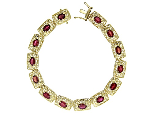 Photo of 8.83ctw Oval Mahaleo® Ruby 10k Yellow Gold Filigree Bracelet - Size 7.25