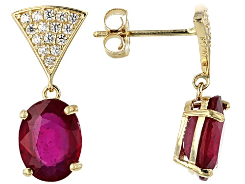 Photo of 3.50ctw Oval Mahaleo® Ruby With .26ctw Round White Zircon 10k Yellow Gold Dangle Earrings