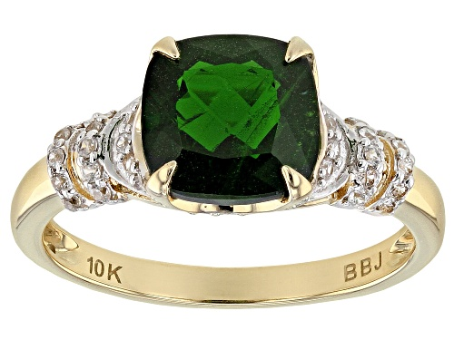 Photo of 1.91ct Square Cushion Russian Chrome Diopside With .28ctw Round White Zircon 10k Yellow Gold Ring - Size 7