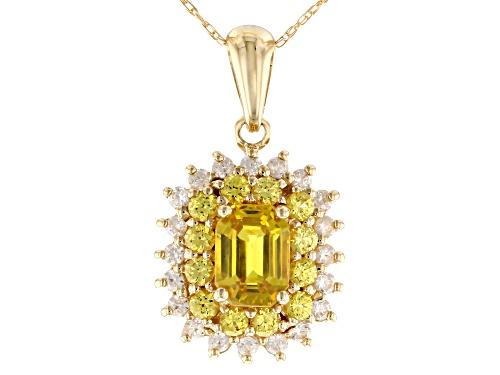 Photo of 1.46ct Emerald Cut & Round Yellow Sapphire With .36ctw Round White Zircon 10k Gold Pendant W/Chain