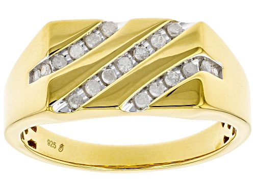 Photo of Engild™ 0.25ctw Round White Diamond 14k Yellow Gold Over Sterling Silver Mens Flat Top Ring - Size 12