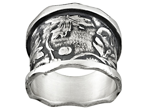 Photo of David Tishbi™ Oxidized Sterling Silver Leaf Design Wave Edge Band Ring - Size 7