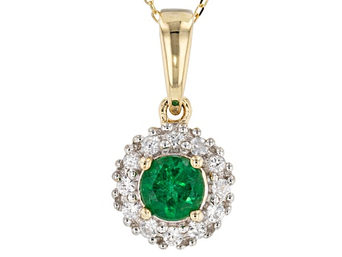 Photo of .50ct Round Emerald Color Apatite With .26ctw Round White Zircon 10k Yellow Gold Pendant With Chain.