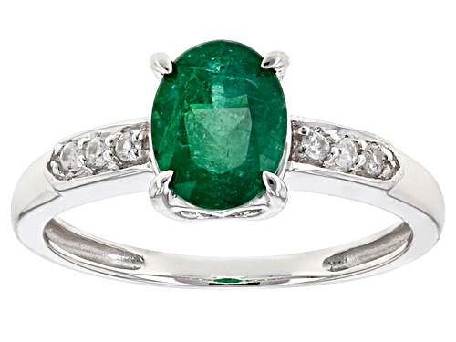 Photo of 1.16ct Oval Emerald Color Apatite With .06ctw Round White Zircon 10k White Gold Ring. - Size 7