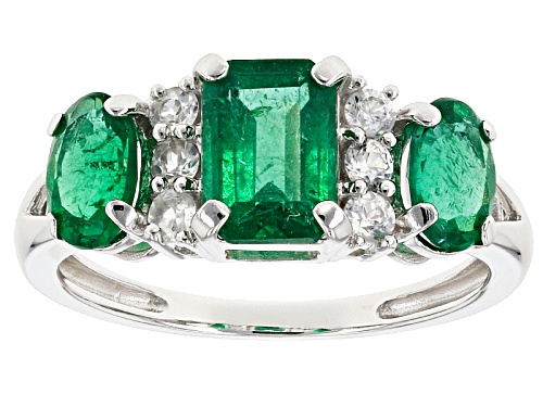 Photo of 1.70ctw Emerald Cut And Oval Emerald Color Apatite With .24ctw White Zircon 10k White Gold Ring - Size 8