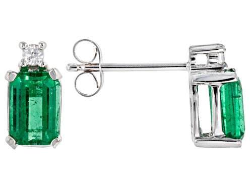 Photo of 1.20ctw Emerald Cut, Emerald Color Apatite With .06ctw Round White Zircon 10k White Gold Earrings