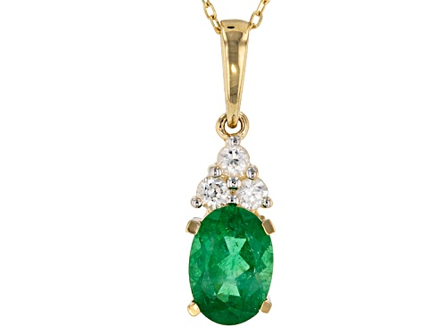 Photo of .70ct Oval Emerald Color Apatite With .12ctw Round White Zircon 10k Yellow Gold Pendant With Chain.