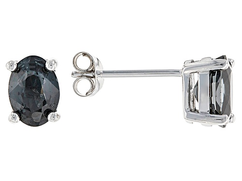 Photo of 1.41ctw Oval Platinum Color Spinel 10k White Gold Stud Earrings.