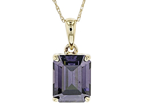 Photo of 3.10ct Emerald Cut Lab Created Purple Strontium Titanate 10k Yellow Gold Pendant With Chain.