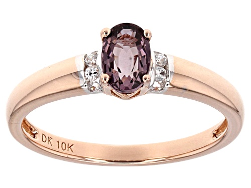 Photo of .43ct Oval Pink Spinel With .07ctw Round White Zircon 10k Rose Gold Ring. - Size 7