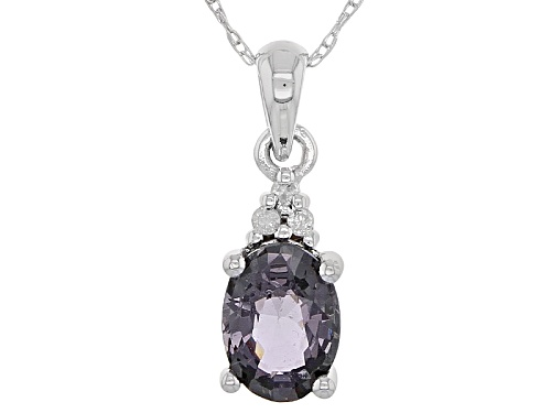 Photo of .70ct Oval Platinum Color Spinel And .01ctw White 3 Diamond Accent 10k White Gold Pendant With Chain