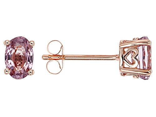 Photo of 1.28ctw Oval Burmese Pink Spinel 10k Rose Gold Stud Earrings.