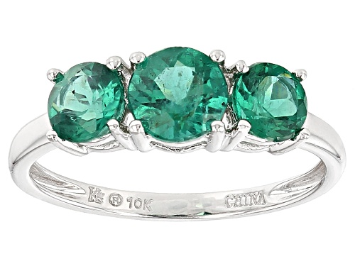 Photo of 1.79ctw Round Emerald Color Apatite 10k White Gold 3-Stone Ring - Size 7