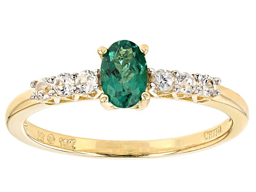 Photo of .45ct Oval Emerald Color Apatite And .28ctw Round White Zircon 10k Yellow Gold Ring - Size 8