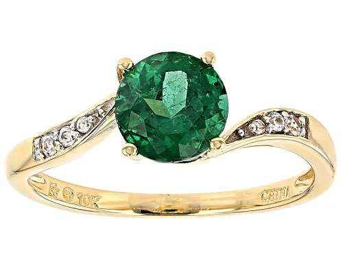 Photo of 1.29ct Round Emerald  Color Apatite And .09ctw Round White Zircon 10k Yellow Gold Ring - Size 7