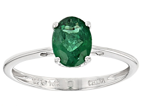 Photo of 1.03ct Oval Emerald Color Apatite 10k White Gold Solitaire Ring - Size 8