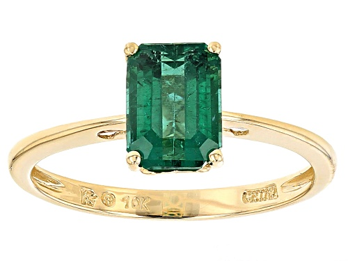 Photo of 1.53ct Emerald Cut Emerald Color Apatite 10k Yellow Gold Solitaire Ring - Size 12