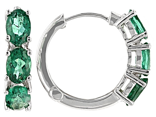 Photo of 2.48ctw Oval Emerald  Color Apatite 10k White Gold Hoop Earrings