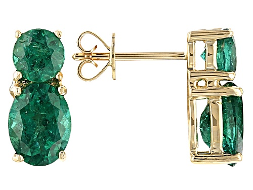Photo of 2.41ctw Oval And .90ctw Round Emerald Color Apatite 10k Yellow Gold 2-Stone Earrings