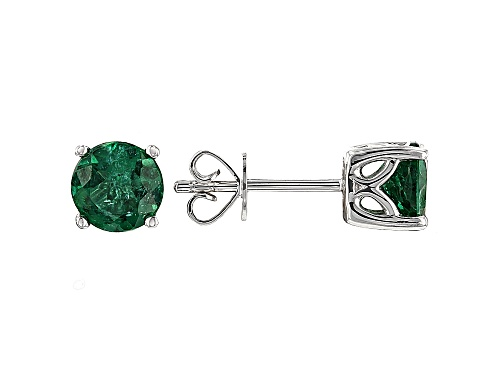 Photo of 1.54ctw Round Emerald Color Apatite Solitaire 10k White Gold Stud Earrings