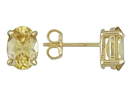 Photo of 2.00ctw Oval Yellow Zircon Solitaire 10k Yellow Gold Stud Earrings