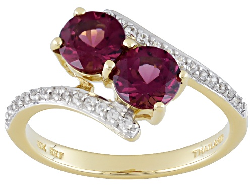 Photo of 1.27ctw Round Grape Color Garnet And .16ctw Round White Zircon 10k Yellow Gold 2-Stone Ring - Size 6