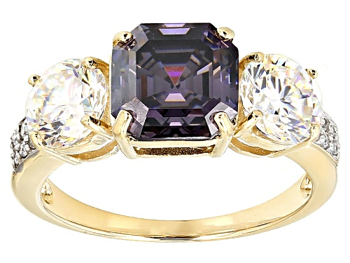Photo of 3.25ct Purple & 2.20ctw White Fabulite Strontium Titanate And .07ctw Zircon 10k Yellow Gold Ring - Size 7