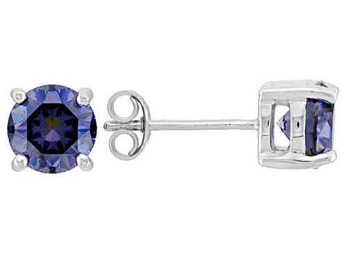 Photo of 2.20ctw Round Lab Created Purple Strontium Titanate 10k White Gold Stud Earrings