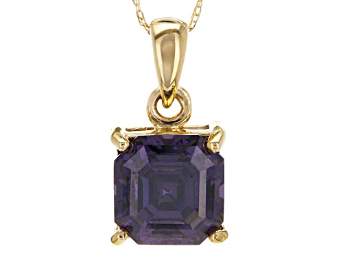 Photo of 3.25ct Asscher Cut Lab Created Purple Strontium Titanate 10k Yellow Gold Pendant With Chain