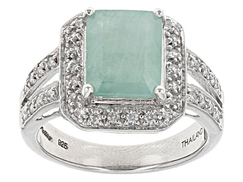 Photo of Exotic Jewelry Bazaar™ 2.58ct Emerald Cut Grandidierite And .32ctw White Zircon Silver Ring - Size 7