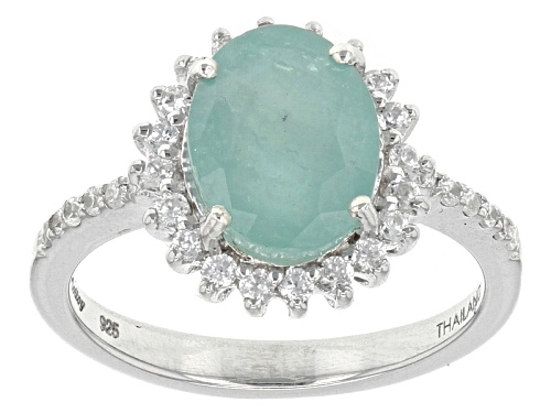 Photo of Exotic Jewelry Bazaar™ 1.88ct Oval Grandidierite And .40ctw White Zircon Sterling Silver Ring - Size 8