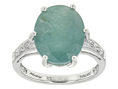 Photo of Exotic Jewelry Bazaar™ 5.79ct Oval Grandidierite And .05ctw White Zircon Sterling Silver Ring - Size 12