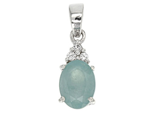 Photo of Exotic Jewelry Bazaar™ 1.19ct Oval Grandidierite And .07ctw White Zircon Sterling Silver Pendant
